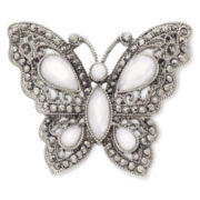 Liz Claiborne® White Butterfly Boxed Brooch