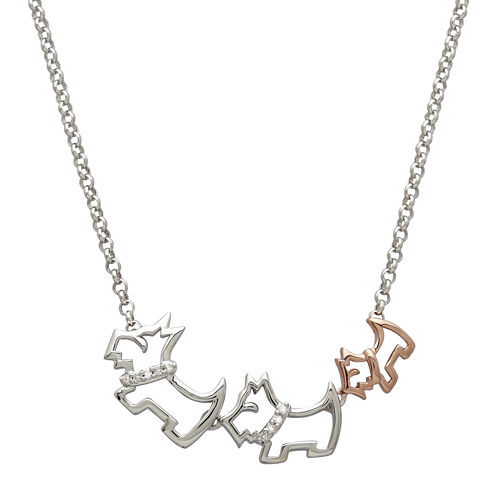 Diamond-Accent Two-Tone Scotty Dog Pendant Necklace