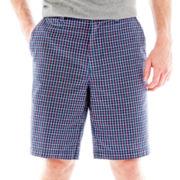 St. John's Bay® Madras Plaid Flat-Front Shorts