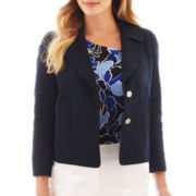 Liz Claiborne 3/4-Sleeve Textured Jacket - Tall
