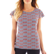 Liz Claiborne Flutter-Sleeve Scoopneck Top - Tall