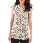 Liz Claiborne Sleeveless Extended-Tab Blouse - Tall