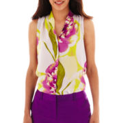 Worthington® Sleeveless High-Low Pleated Button-Front Blouse - Tall