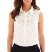 Worthington® Sleeveless Lace-Trim Shirt