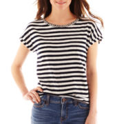 jcp™ Short-Sleeve Embellished Striped Tee