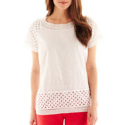 jcp™ Short-Sleeve Eyelet Lace Top - Petite