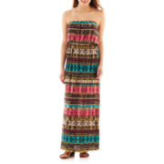 Trixxi® Strapless Blouson Print Maxi Dress