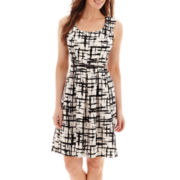 Black Label by Evan-Picone Cap-Sleeve Print Belted Piqué Fit-and-Flare Dress