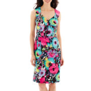 Black Label by Evan-Picone Cap-Sleeve V-Neck Floral Sheath Dress