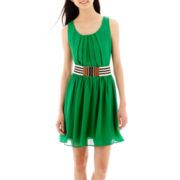 by&by Sleeveless Belted Chiffon Dress