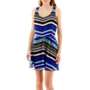 City Triangles® Sleeveless Striped Chiffon X-Back Blouson Dress