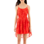 My Michelle® Sleeveless Embroidered Gauze High-Low Dress