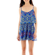 My Michelle® Sleeveless Print Chiffon Popover Dress