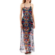 My Michelle® Sleeveless Print Chiffon Slip Maxi Dress