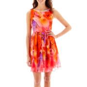 Studio 1® Sleeveless Studded-Neck Fit-and-Flare Dress - Petite