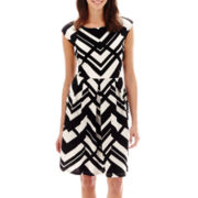Tiana B. Cap-Sleeve Mixed Chevron-Striped Dress - Petite