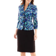 Le Suit® Long Sleeve Print Twill Jacket and Solid Skirt