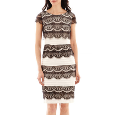 jcpenney.com | Melrose Short-Sleeve Lace-Overlay Shutter-Pleat Dress