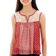 Ransom Girl™ Crochet-Yoke Print Tank Top