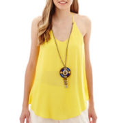 by&by Sleeveless Challis Necklace Top