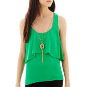 by&by Sleeveless Solid Chiffon Popover Necklace Top