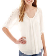 by&by 3/4-Sleeve Woven Tie-Front Crochet-Trim Top
