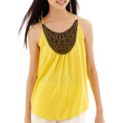 by&by Sleeveless Knit Bib-Trim Trapeze Top