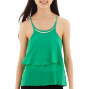 by&by Sleeveless Solid Tiered Chiffon Necklace-Trim Top