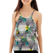 by&by Sleeveless Print Tiered Chiffon Necklace-Trim Top