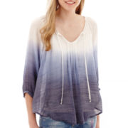 by&by 3/4-Sleeve Silky Gauze Peasant Top