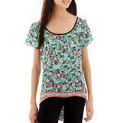 Trixxi® Short-Sleeve Floral Print Bordered X-Back Top