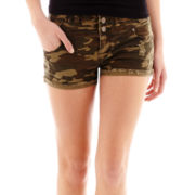 Hot Kiss Destructed Camo High-Waist Shorts