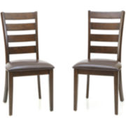 Landry Set of 2 Faux-Leather Ladderback Dining Chairs