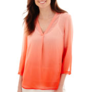 Liz Claiborne® 3/4-Sleeve Dip-Dyed Blouse - Tall