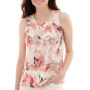 Liz Claiborne® Floral Peasant Tank Top