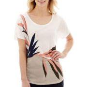 Liz Claiborne® Short-Sleeve Fern Print T-Shirt - Tall