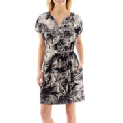 Liz Claiborne® Short-Sleeve Palm Tree Dress - Tall
