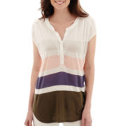 Liz Claiborne® Short-Sleeve Striped Henley T-Shirt
