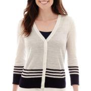 Liz Claiborne® Long-Sleeve Striped V-Neck Cardigan