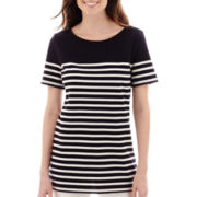Liz Claiborne® Short-Sleeve Striped Tunic