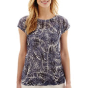 Liz Claiborne® Short-Sleeve Mesh Printed Sweater