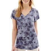 Liz Claiborne® Short-Sleeve Printed Floral T-Shirt