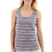 Liz Claiborne® Linen Striped Tank Top
