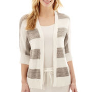 Liz Claiborne® 3/4-Sleeve Striped Cardigan