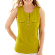 Liz Claiborne® Sleeveless Slub-Knit Henley Tank Top