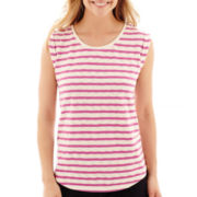 Liz Claiborne Cuffed Textured Striped T-Shirt
