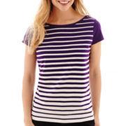 Liz Claiborne® Short-Sleeve Striped T-Shirt