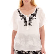 Alyx® Short-Sleeve Tie-Front Embroidered Woven Gauze Top - Plus