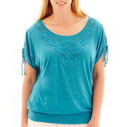 Alyx® Short-Sleeve Crochet-Front Top - Plus