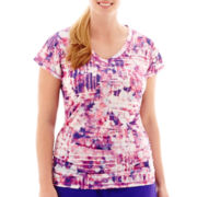Xersion™ Short-Sleeve Print Mesh Ruched T-Shirt - Plus